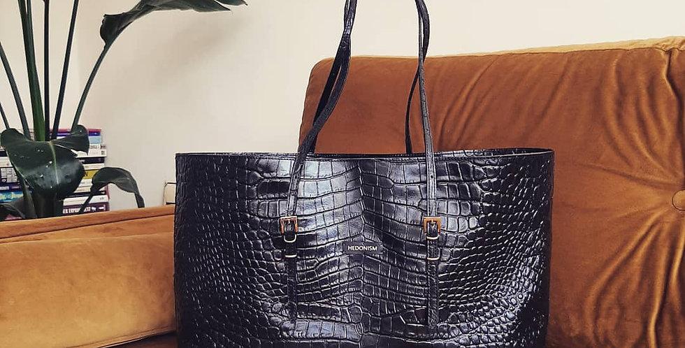 "Shopper ""Mimi"" black crocodile szerokość 39 cm"