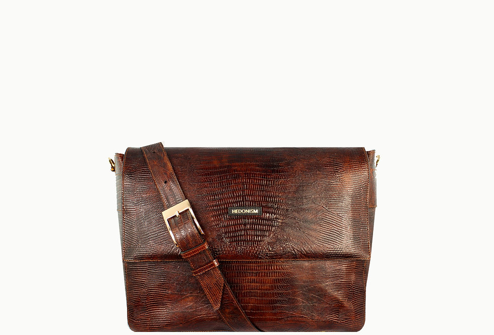 """""""Pat M+""""brown crocodile leather bag, limited edition"""