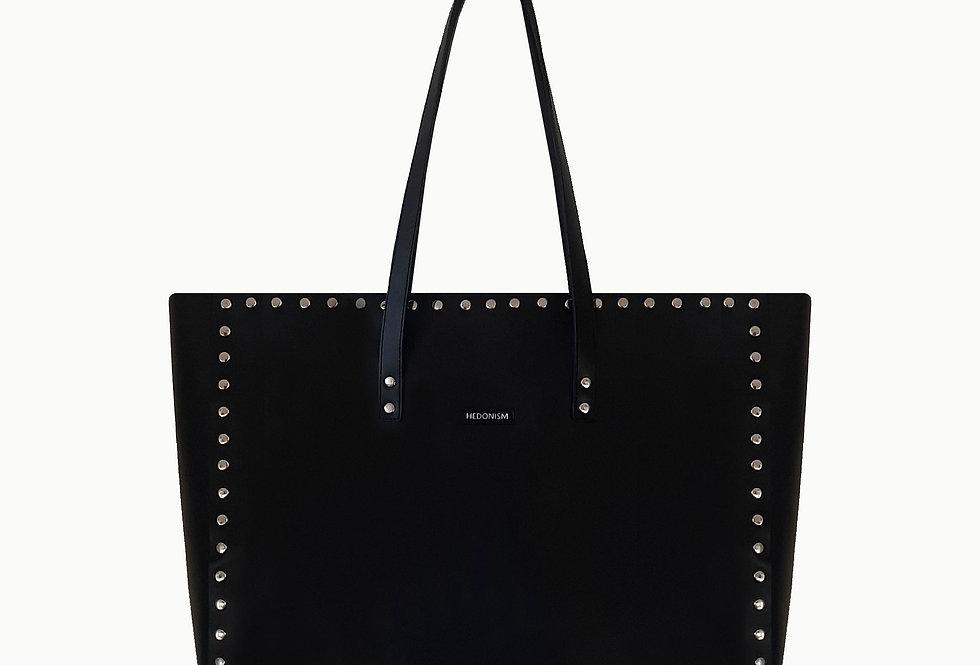 "Shopper ""Night"" black satin leather, szerokość 40 cm"