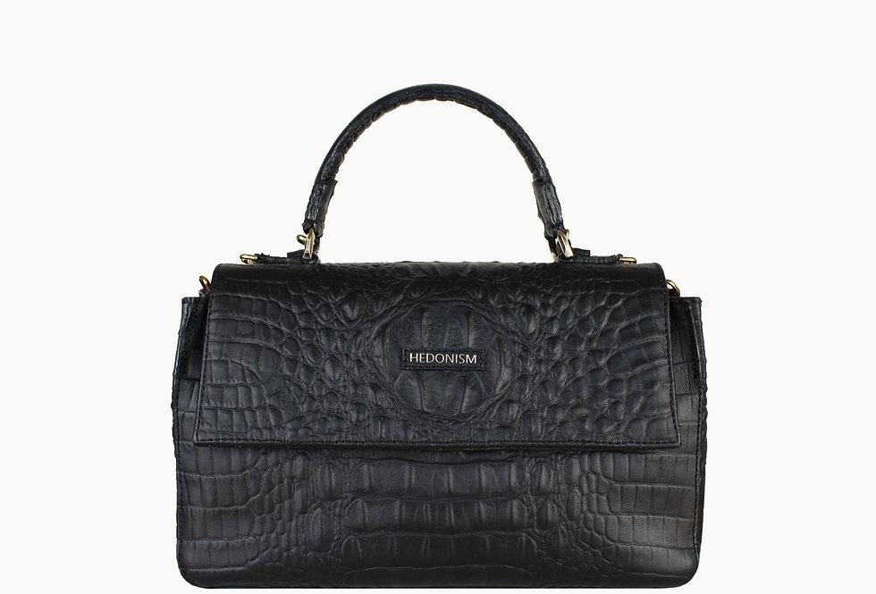 """""""Audrey"""" top handle bag, black crocodile"""