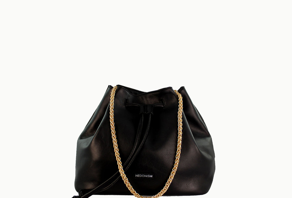 """""""Le sac"""" black satin leather with two straps"""