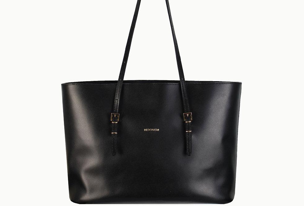 "Shopper ""Mimi"" black satin leather"
