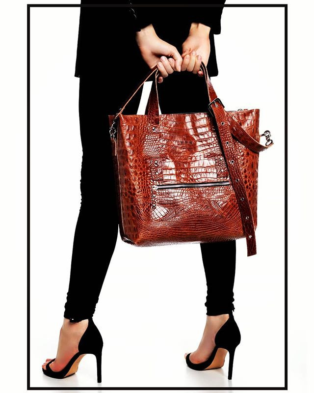 Crocodile effect leather bag.