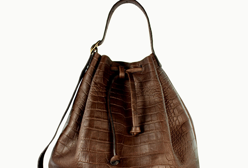 "Grand ""Le sac"" chocolate brown crocodile"