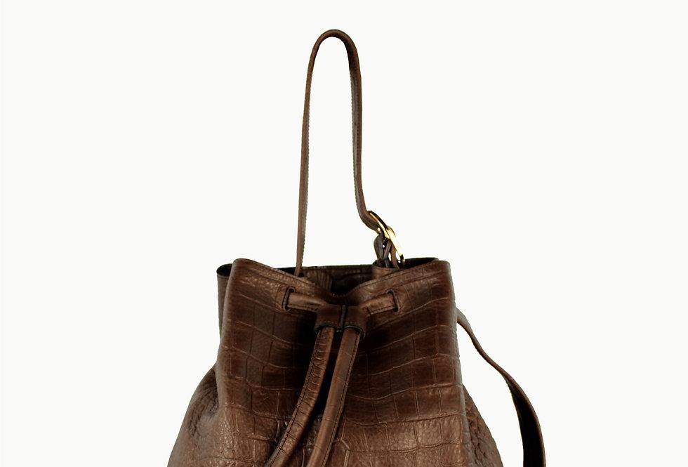 """Le sac"" brown crocodile bucket bag"