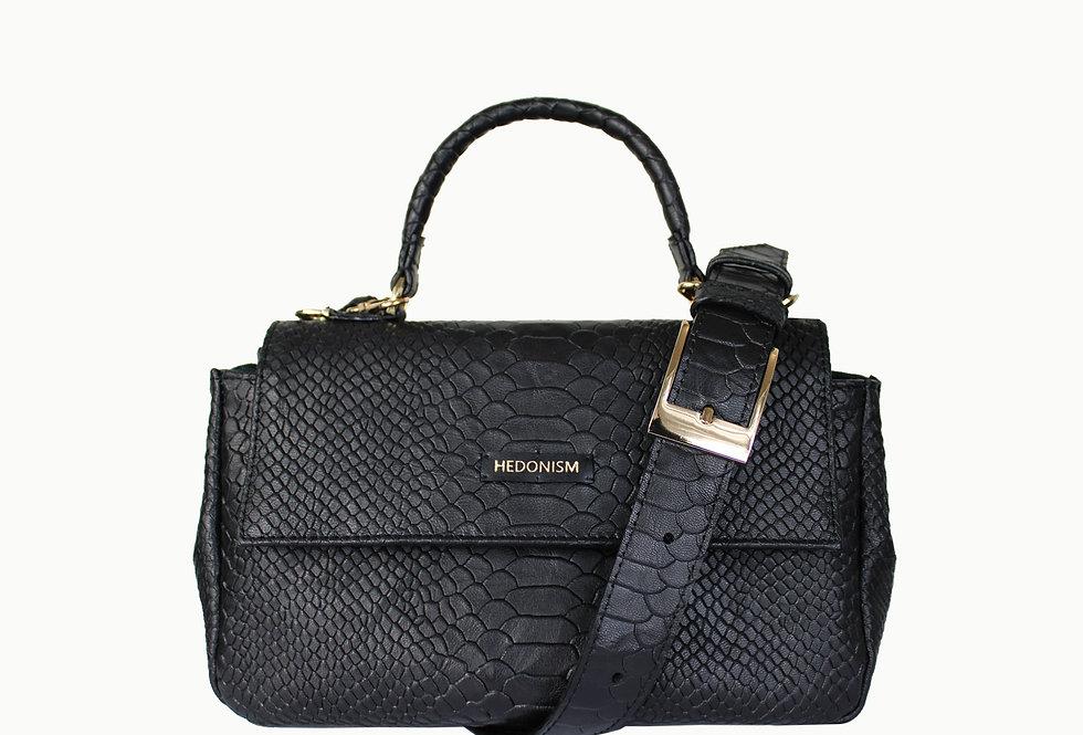 """Audrey"" top handle bag, black python embossed leather"