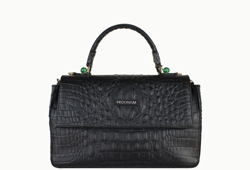 """Audrey"" top handle bag, black crocodile and green stones"