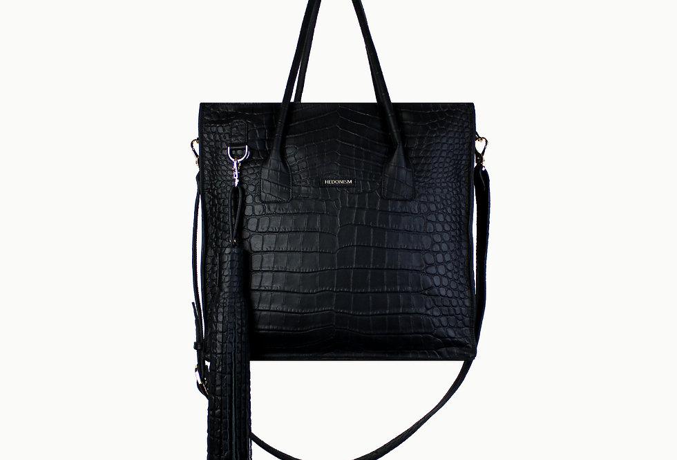 """Crocodile back in town"" shopper bag with hand cut tassel"