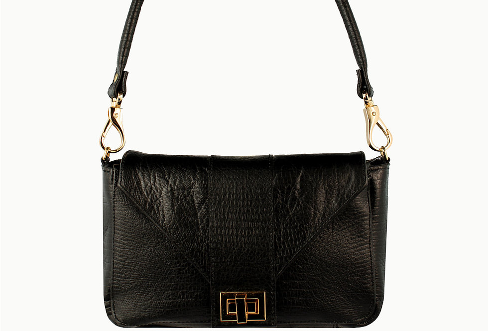 """""""Baquette"""" black satin leather, limited edition"""
