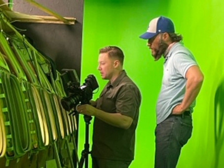 Filming on a Green Screen Airplane