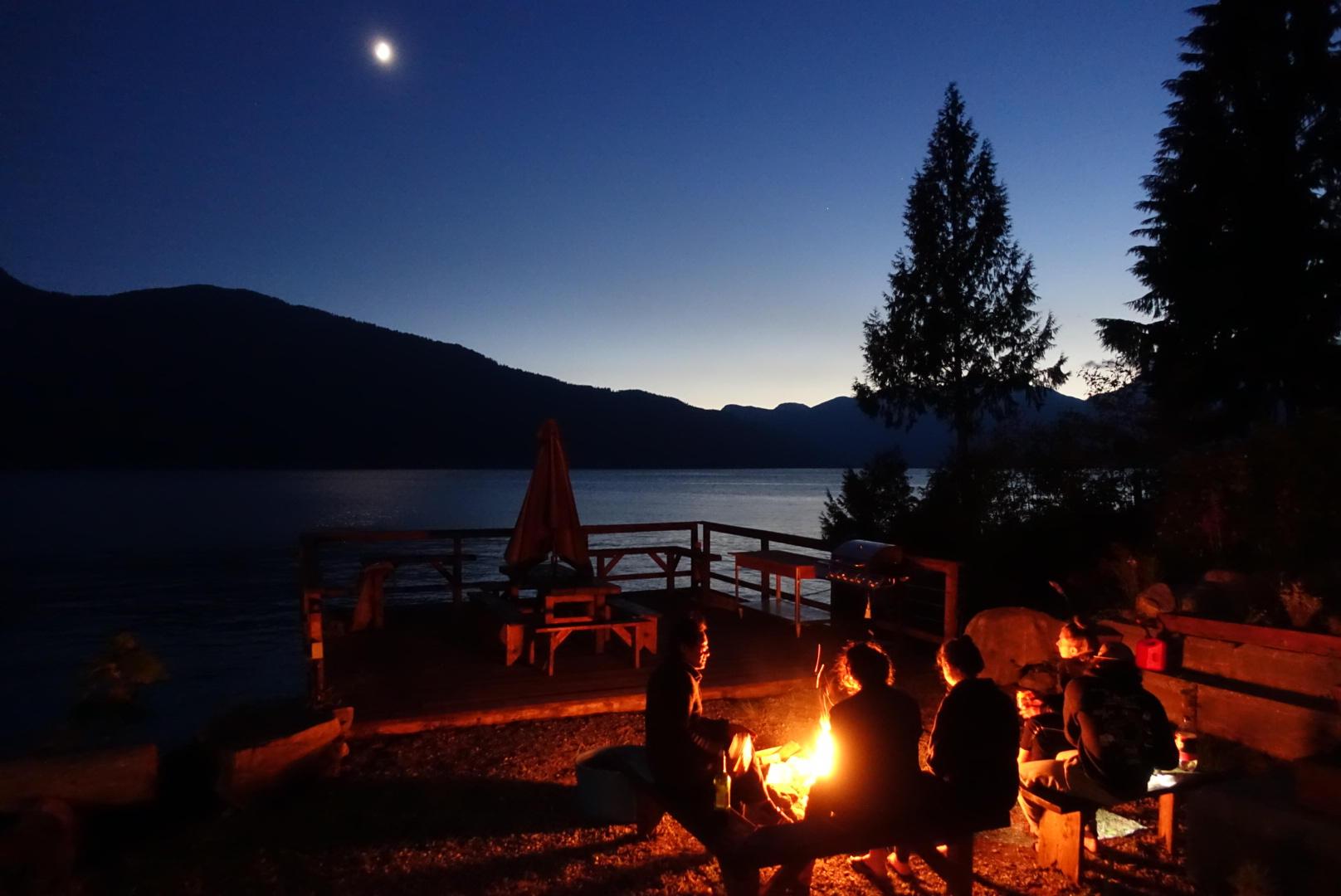 Campfire at Klahoose Wilderness Resort