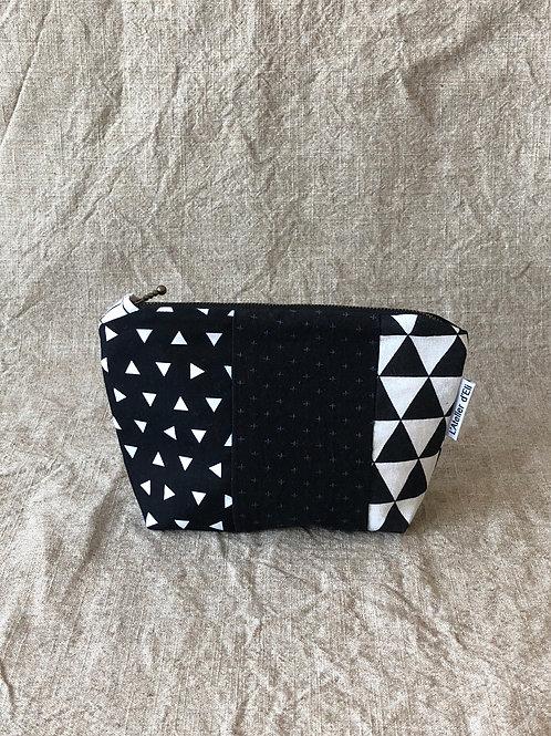 Japanese Boro Inspired Makeup Bag - Black