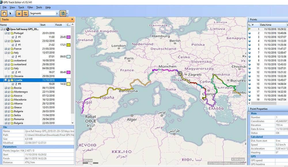 Traversée Europe - GPS Track Editor
