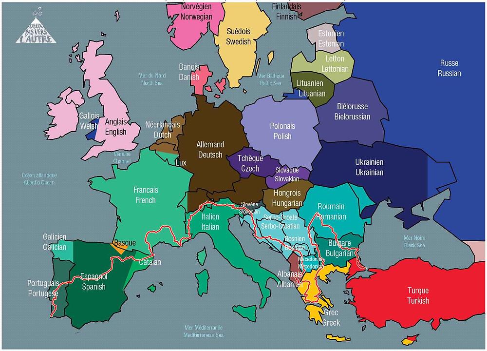 Carte langues Europe - Deux Pas Vers l'Autre