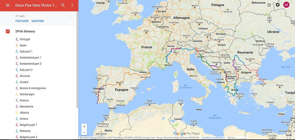 Deux Pas Vers l'Autre - Traversée Europe - Google Maps