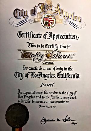 תעודת הוקרה עם סיום תפקיד הקונסול בלוס אנג'לס