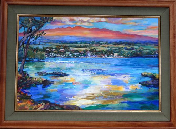 "20"" x 30"" Acrylic Painting Commission with Koa Frame."