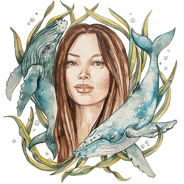 TiFong Illustration Frau mit Walen