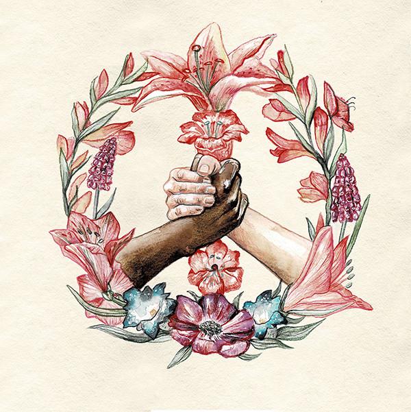 TiFong Illustration Peace Blumenkrank Arm in Arm