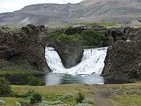 hjalparfoss waterfall in Thjorsardalur valley, Iceland