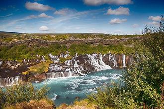 Hraunfossar and barnafoss waterfall in Borgarfjordur, Kaldidalur, Egill Skallagrimson, cascate in Islanda, jeep tours in Iceland