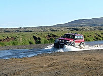 thousand waters 4x4 track, Golden circle off road, river crossing in iceland