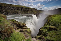 Gullfoss in Haukadalur valley iceland, Gyrfalcons in Iceland, Gullfoss waterfall, Golden circle off road, circolo d'oro in super jeep