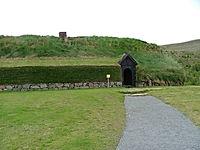 Stong, viking longhouse in iceland, ruins of viking settlement of Stong, near Gjan ravine in thjorsardalur valley, a taste of everyday life during Norsemen era
