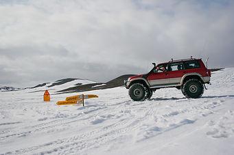 day tour to Landmannalaugar and Hekla Vulcano. Snow driving in Landmannalaugar, near Ljotipollur crater, snow safari in Iceland