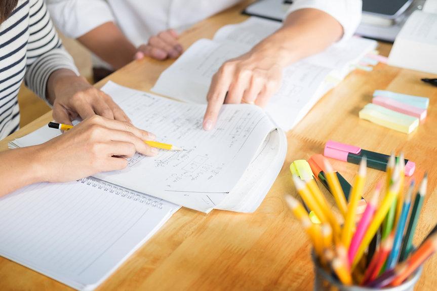 Profesora y alumno trabajando