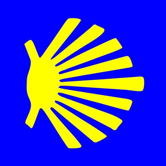Icono de la concha de la vieira en color amarillo sobre fondo azul