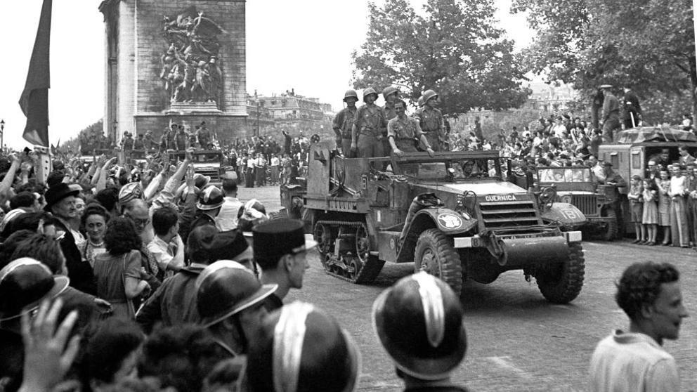 Foto de vehículo de La Nueve el día de la Liberación de París