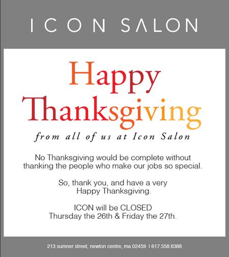Icon will be closed Thursday + Friday.