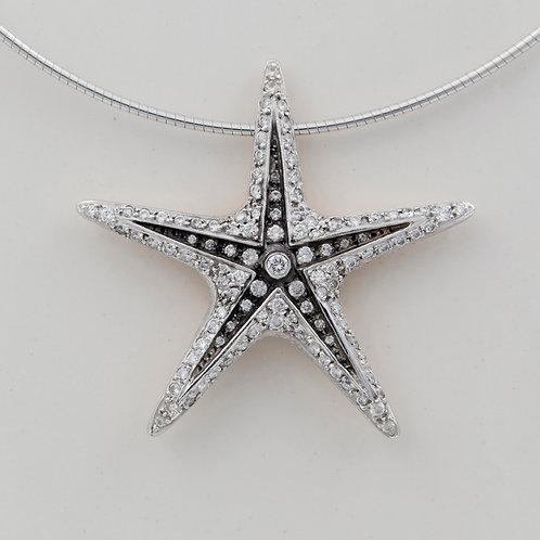 Platinum and Diamond Starfish pendant - POA