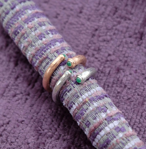 Lucky Bamboo rings, set with emeralds