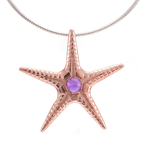 Silver and amethyst cabouchon starfish pendant