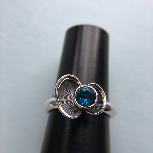 Euphorbia ring - silver and topaz