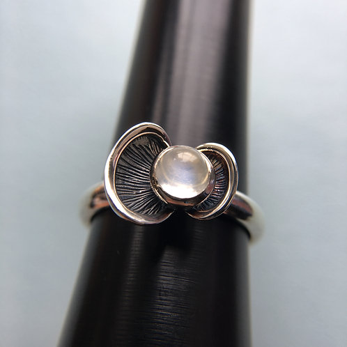 Euphorbia ring - silver and moonstone
