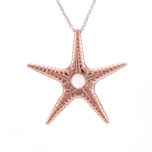 Silver and pale pink toumaline cabouchon starfish pendant