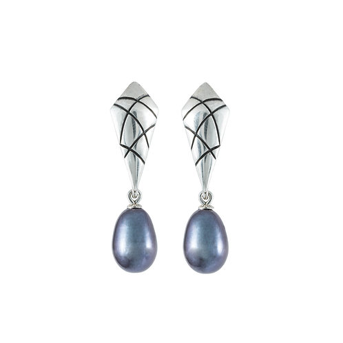 'Criss-cross' earrings, silver with removeable drops