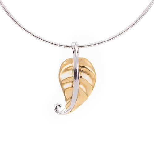 Hosta Leaf Pendant - Polished Gold Finish