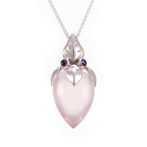 Silver, Rose Quartz & Amethyst Bud Pendant