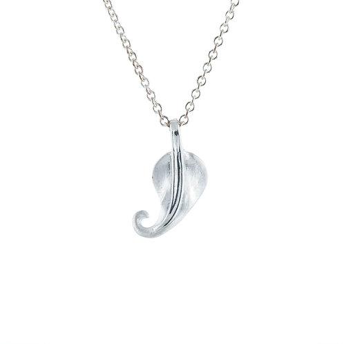 'Tiny leaf' silver and rhodium vermeil pendant