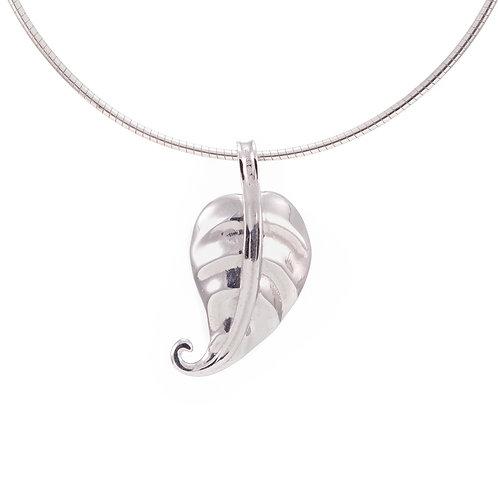 Hosta Leaf Pendant - Polished Silver