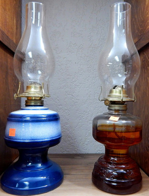 Vintage Stoneware & Clear Oil Lamp