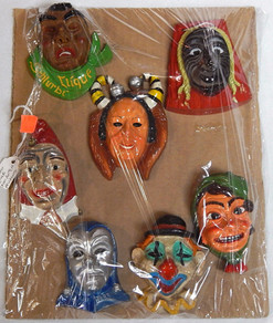 Set of 7 Vintage Carved Wood Carnival Pendants