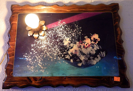 Vintage Lacquered Floral Photo Lamp