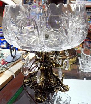 Large Brass & Crystal Bowl