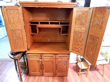 Vintage Solid Oak Computer Stand