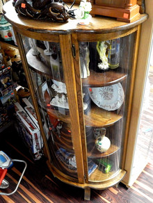1930's Curved Glass Curio Cabinet